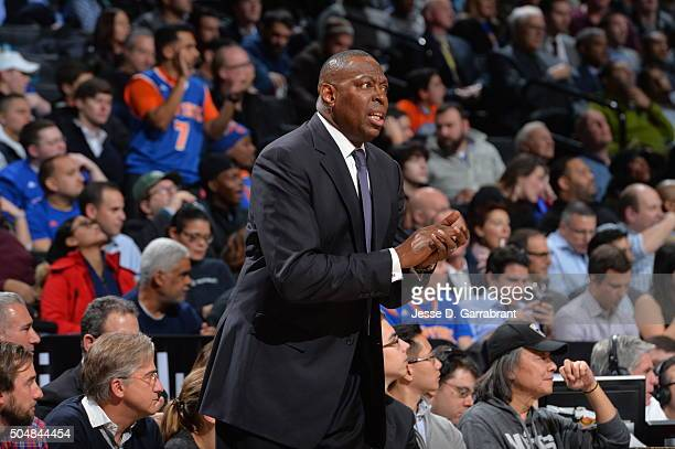Interm Head Coach Tony Brown of the Brooklyn Nets looks on against the New York Knicks on January 13 2015 at Barclays Center in Brooklyn New York...