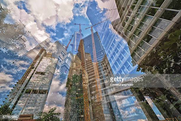 intermingled urban skyline - emreturanphoto stock-fotos und bilder