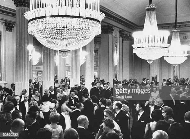 Intermission in foyer on opening night at La Scala.