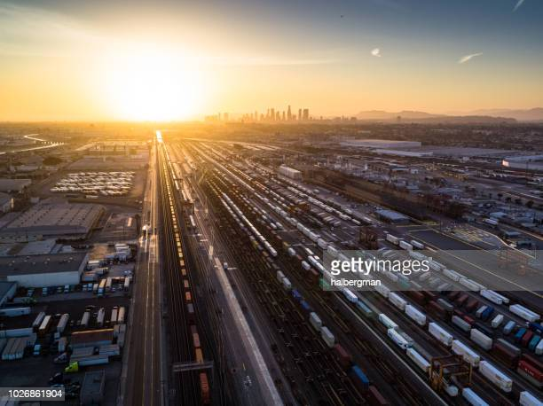 Intermodal Freight Yard in Vernon, CA at Sunset - Aerial View