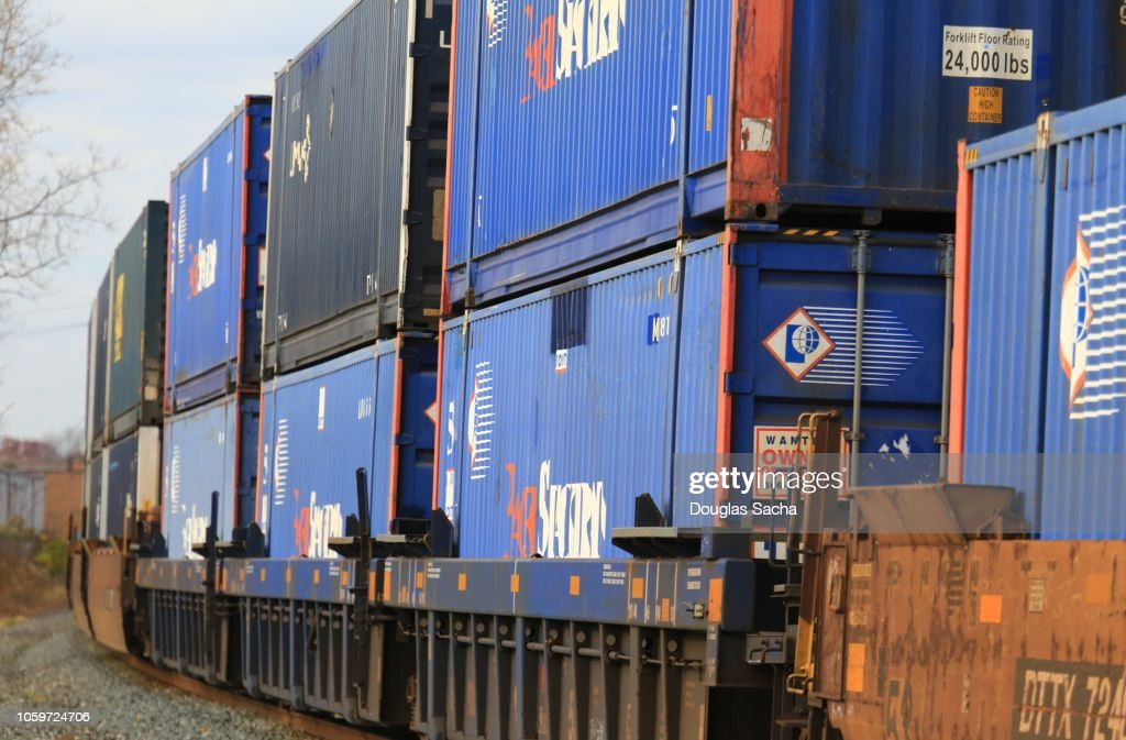 Intermodal Stack Train With Overseas Shipping Containers ...