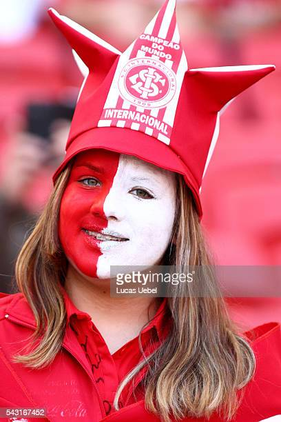 Internacional fan before the match between Internacional and Botafogo as part of Brasileirao Series A 2016 at Estadio BeiraRio on June 26 in Porto...