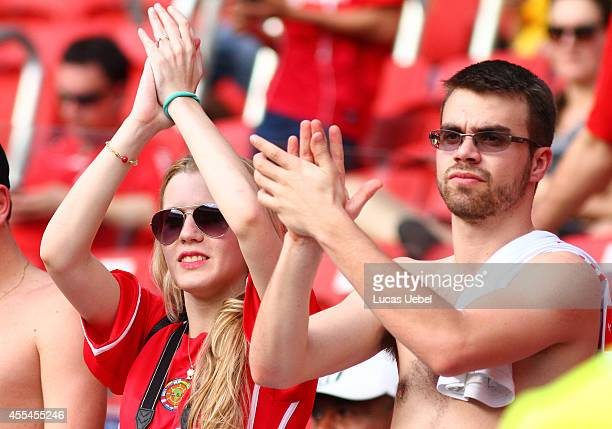 Internacional fans before the match between Internacional and Botafogo as part of Brasileirao Series A 2014 at Estadio BeiraRio on September 14 in...