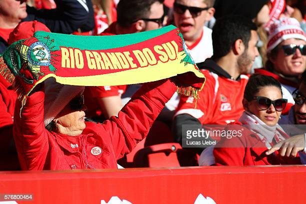 Internacional fans before the match between Internacional and Palmeiras as part of Brasileirao Series A 2016 at Estadio BeiraRio on July 17 in Porto...