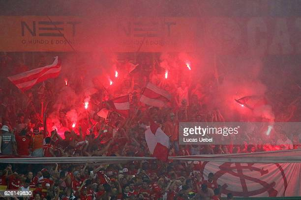 Internacional fans before the match between Internacional and Cruzeiro as part of Brasileirao Series A 2016 at Estadio BeiraRio on November 27 in...