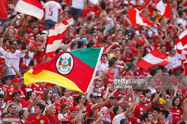 Internacional fans before the match between Internacional and Gremio as part of Brasileirao Series A 2015 at Estadio BeiraRio on November 22 in Porto...