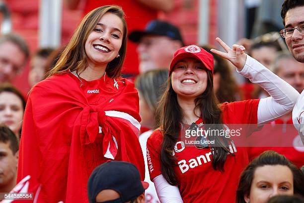 Internacional fans before the match between Internacional and Gremio as part of Brasileirao Series A 2016 at Estadio BeiraRio on July 03 2016 in...