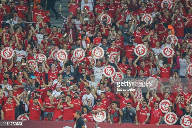 Internacional fans cheer their team before the match Internacional v Flamengo as part of Copa CONMEBOL Libertadores 2019, at Beira-Rio Stadium on...