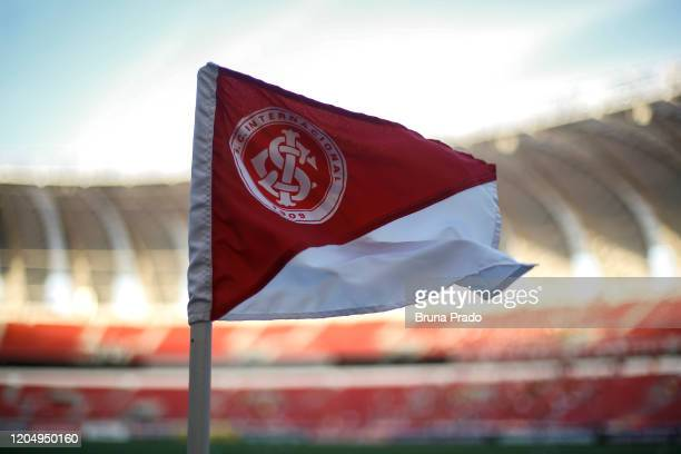 Internacional flag is seen at Beira-Rio Stadium prior a Group E match between Internacional and Universidad Catolica as part of Copa CONMEBOL...