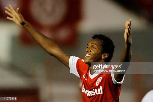 Internacional's forward Jo celebrates after he scored the goal against The Strongest of Bolivia during their Libertadores Cup football match at the...