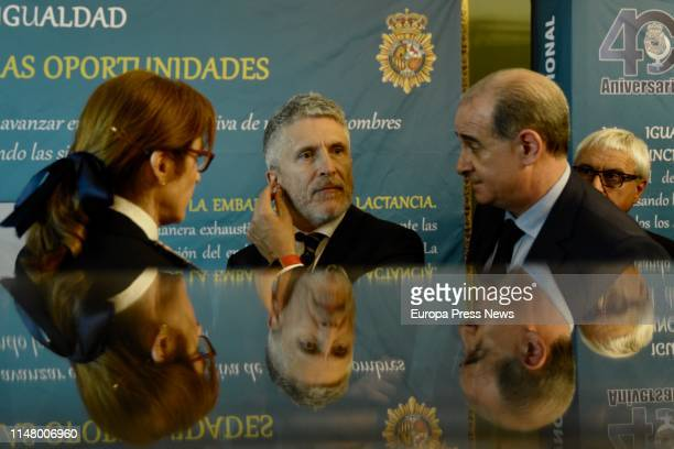 Internal Affairs minister Fernando GrandeMarlaska and the director general of the Police Francisco Pardo attend and exhibition to commemorate the...