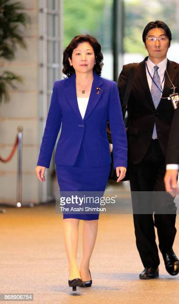 Internal Affairs Minister Yoko Kamikawa is seen on arrival at the prime minister's official residence on November 1 2017 in Tokyo Japan The ruling...