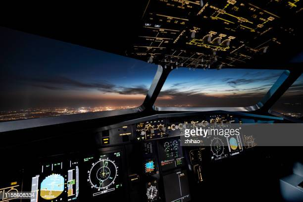 internal control part of the aircraft cockpit - air vehicle stock pictures, royalty-free photos & images
