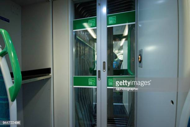 Internal doors on a London train