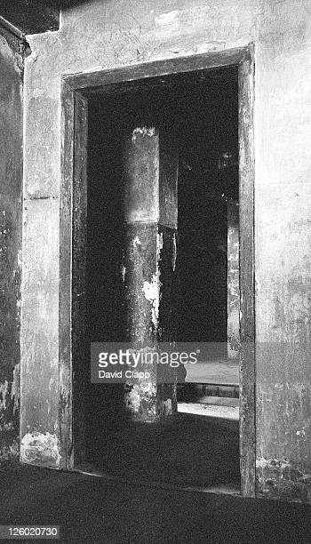 internal doorways to the main gas chamber, birkenau concentration camp, auschwitz, poland - birkenau stock pictures, royalty-free photos & images