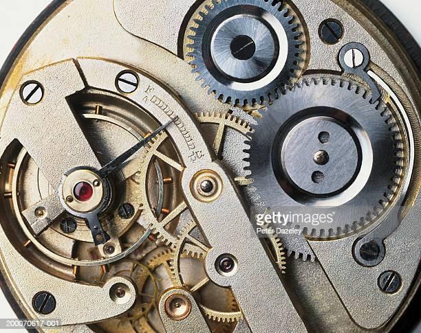 Internal mechanism of Edwardian pocket watch, close-up