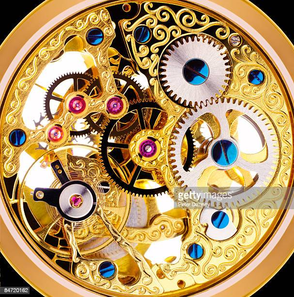 internal mechanism of edwardian pocket watch - cog stock pictures, royalty-free photos & images
