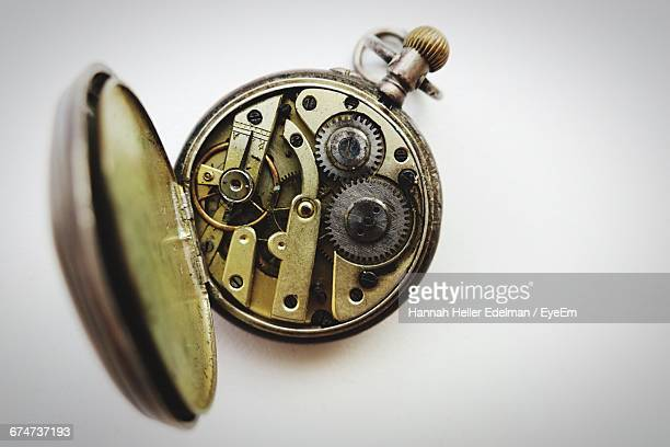 Internal Mechanism Of Pocket Watch On White Background