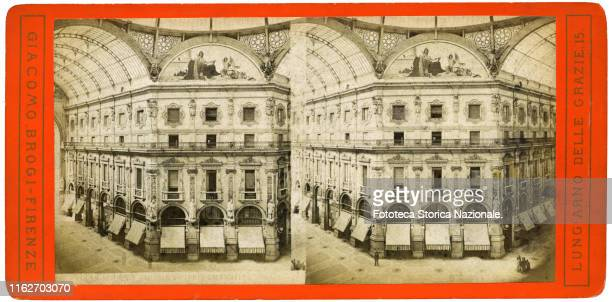 Internal photographic view of the Galleria Vittorio Emanuele II of Milan, designed by the architect Giuseppe Mengoni, inaugurated in 1877. Giacomo...