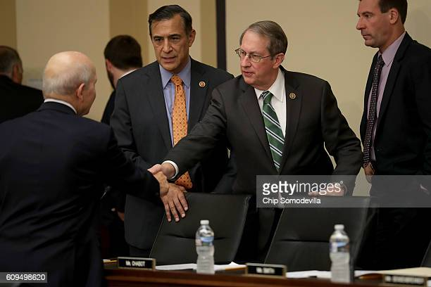 Internal Revenue Service Commissioner John Koskinen greets House Judiciary Committee Chairman Bob Goodlatte and Rep Darrell Issa in the Rayburn House...
