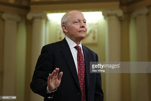 Internal Revenue Service Commissioner John Koskinen is sworn in during a hearing before the House Ways and Means Committee June 20 2014 on Capitol...