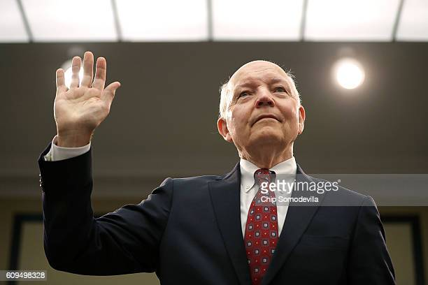 Internal Revenue Service Commissioner John Koskinen is sworn in before testifying to the House Judiciary Committee in the Rayburn House Office...
