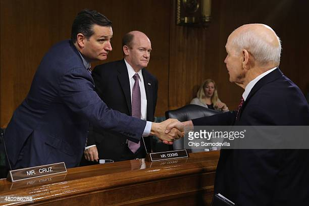 Internal Revenue Service Commissioner John Koskinen shakes hands with Senate Judiciary's Oversight Agency Action Federal Rights and Federal Courts...