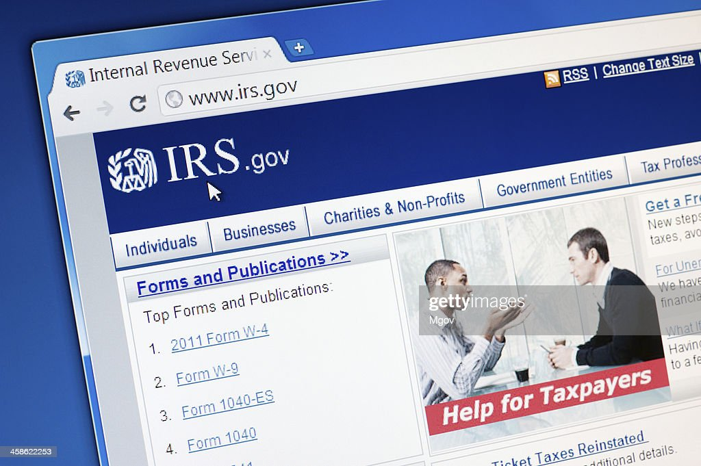 Internal Revenue Service (IRS) main page on the web browser. : Stock Photo