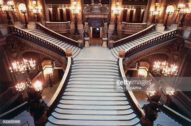 Internal staircase of Palais Garnier 18601875 designed by Charles Garnier one of the venues of the Opera National de Paris Paris Paris IledeFrance...