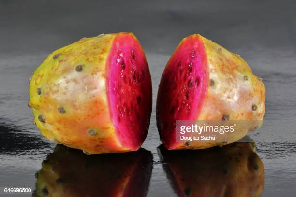 Internal view of a sliced Prickly Pear cactus Fruit (Opuntia littoralis)