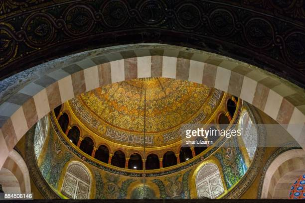 BAITULMUQADDIS, PALESTINE - 13TH NOV 2017; Internal view of Al-Aqsa Mosque, Jerusalem. Built in 691, where Prophet Mohamed ascended to heaven on an angel in his 'night journey'.