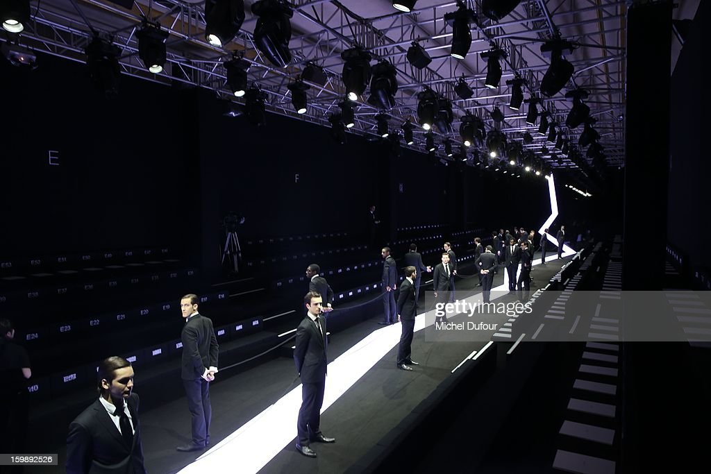 Internal view of Giorgio Armani Prive Spring/Summer 2013 Haute-Couture show as part of Paris Fashion Week at Theatre National de Chaillot on January 22, 2013 in Paris, France.