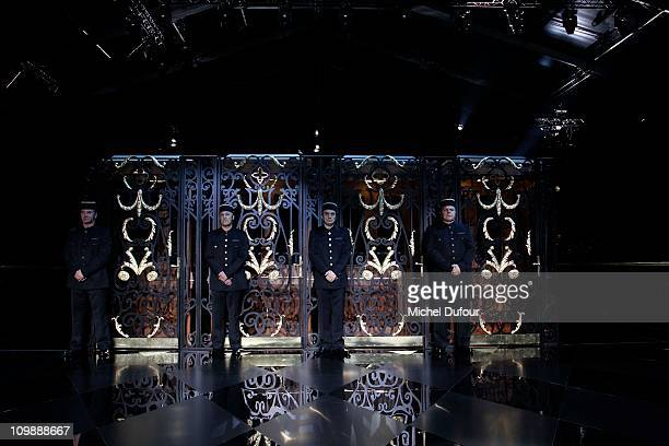 Internal view of the Louis Vuitton Ready to Wear Autumn/Winter 2011/2012 show during Paris Fashion Week at Cour Carree du Louvre on March 9, 2011 in...
