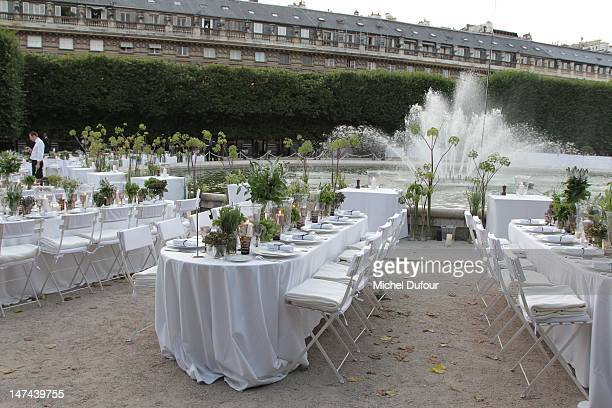 Internal view of the private dinner during the Berluti Menswear Spring/Summer 2013 show as part of Paris Fashion Week at Jardin du Palais Royal on...