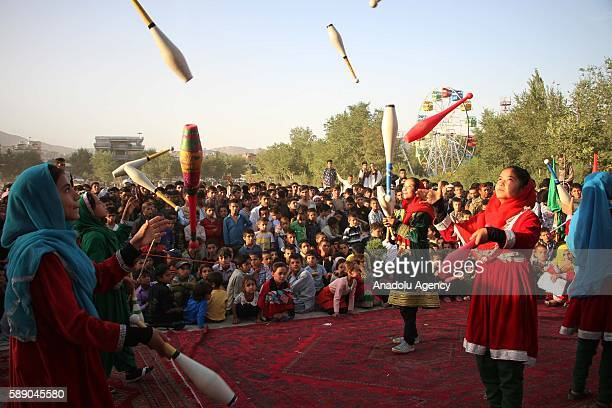 Internally displaced Afghan children perform during the 11th Afghanistan National Juggling Championship organized by the Mobile Mini Circus for...