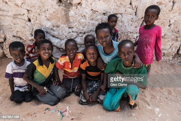 Internally displaced children in a World Food Program food center in central Mogadishu Somalia is in the grip of an intense drought induced by...