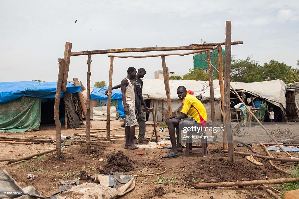 Internally displaced civilians are seen at Saint Mary camp, which has been set up near a cemetery in Juba, South Sudan on October 18, 2016.