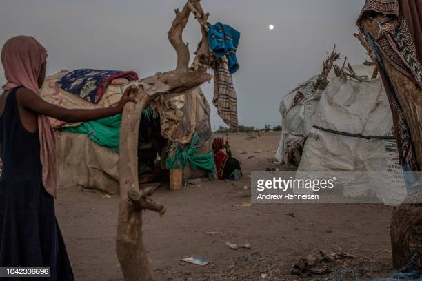 Internally displaced people at Meshqafah Camp on September 23 2018 in Aden Yemen The majority of the camp is made up of families who fled fighting...