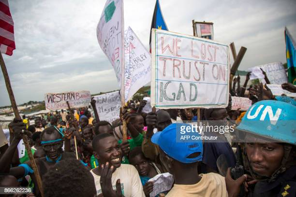 Internally Displaced People demonstrate during the visit of the US Ambassador to the United Nations at the UN Protections of Civilians in Juba on...