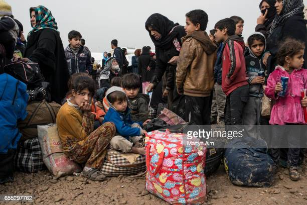 Internally displaced people who have fled fighting between Iraqi forces and Islamic State in west Mosul arrive in Hamam alAli camp March 18 2017