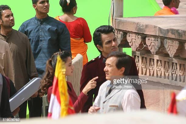 "International action star Jackie Chan, Bollywood actor Sonu Sood and Disha Patani shoot for the upcoming movie ""Kung Fu Yoga"" at Mandor Garden in..."