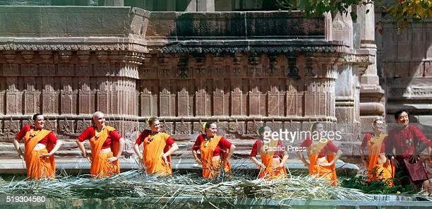 "International action star Jackie Chan, dances during shoot for upcoming movie ""Kung Fu Yoga"" at Mandor Garden in Jodhpur."