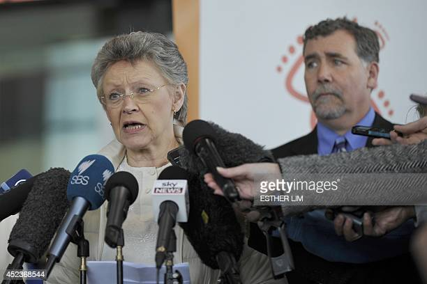 International AIDS Society president Françoise BarreSinoussi of France addresses the media with news on fallen delegates travelling to the AIDS...