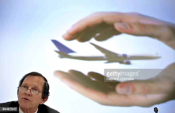 International Air Transport Association CEO and Director General Giovanni Bisignani delivers a speech during a media day on December 15 2009 at IATA...