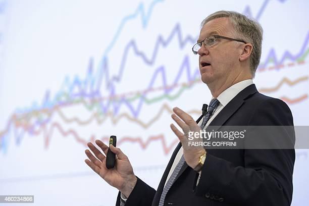 International Air Transport Association Chief Economist Brian Pearce speaks at the IATA global media day on December 10, 2014 in Geneva. Global...
