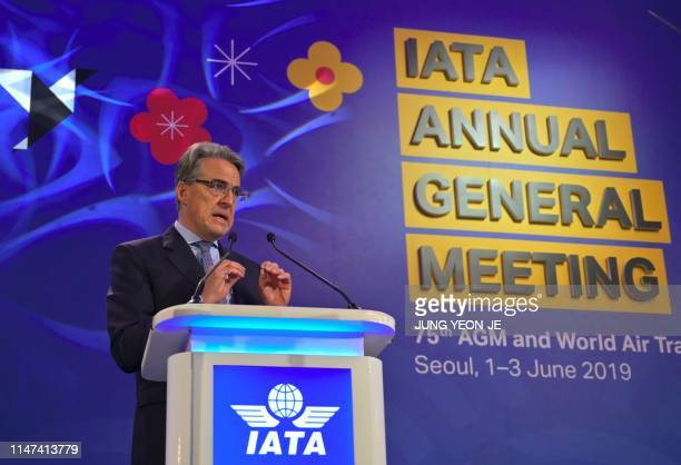 International Air Transport Association chief executive Alexandre de Juniac speaks during the opening session of the annual general meeting of IATA...