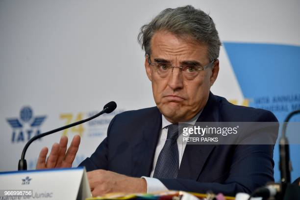 International Air Transport Association chief executive Alexandre de Juniac speaks at a press conference at the annual meeting of global airlines in...