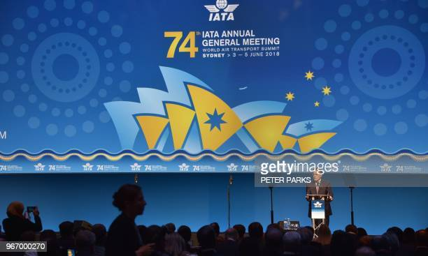 International Air Transport Association chief executive Alexandre de Juniac speaks at the opening of the annual meeting of global airlines in Sydney...