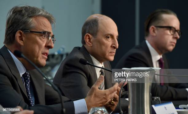 International Air Transport Association chief executive Alexandre de Juniac speaks at a press conference after the IATA annual meeting as Qatar...