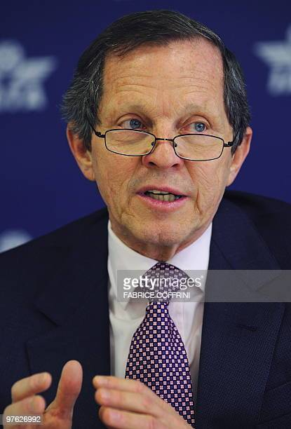 International Air Transport Association chief executive officer and Director General Giovanni Bisignani gives a press conference on March 11 2009 in...